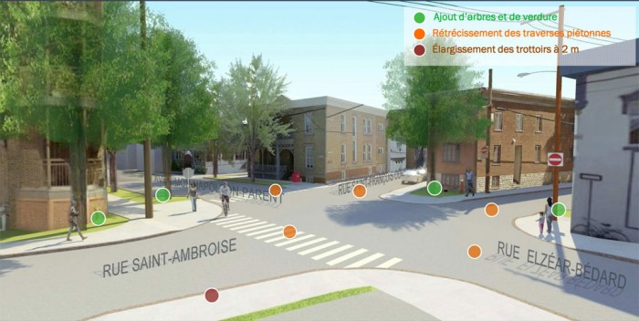 Rue St-Ambroise: Trottoirs élargis, placette et 7 arbres de plus