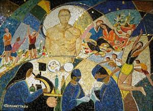 Giovanni Gerometta, L'amour de la vie, 1989. Mosaïque méthode indirecte, 168 X 198 cm. Collection Fondation de l'Hôpital Laval.